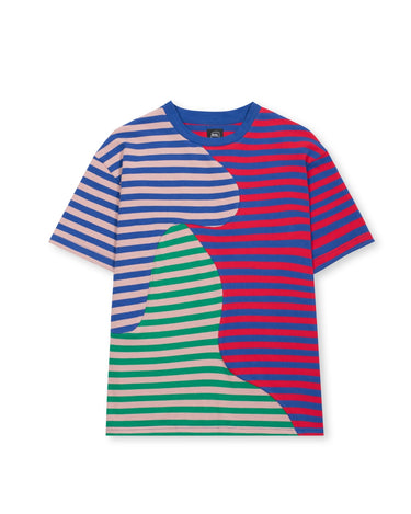 Organic Paneled Stripe Shirt Red/Blue 1