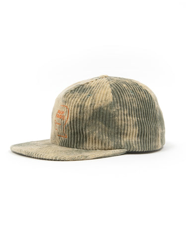 Bleached Cord Logo Head Hat Green 2