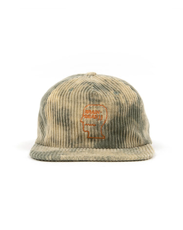 Bleached Cord Logo Head Hat Green 1