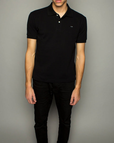 Men's Little Black Heart Polo Shirt Black
