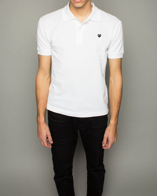Men's Little Black Heart Polo Shirt White 1