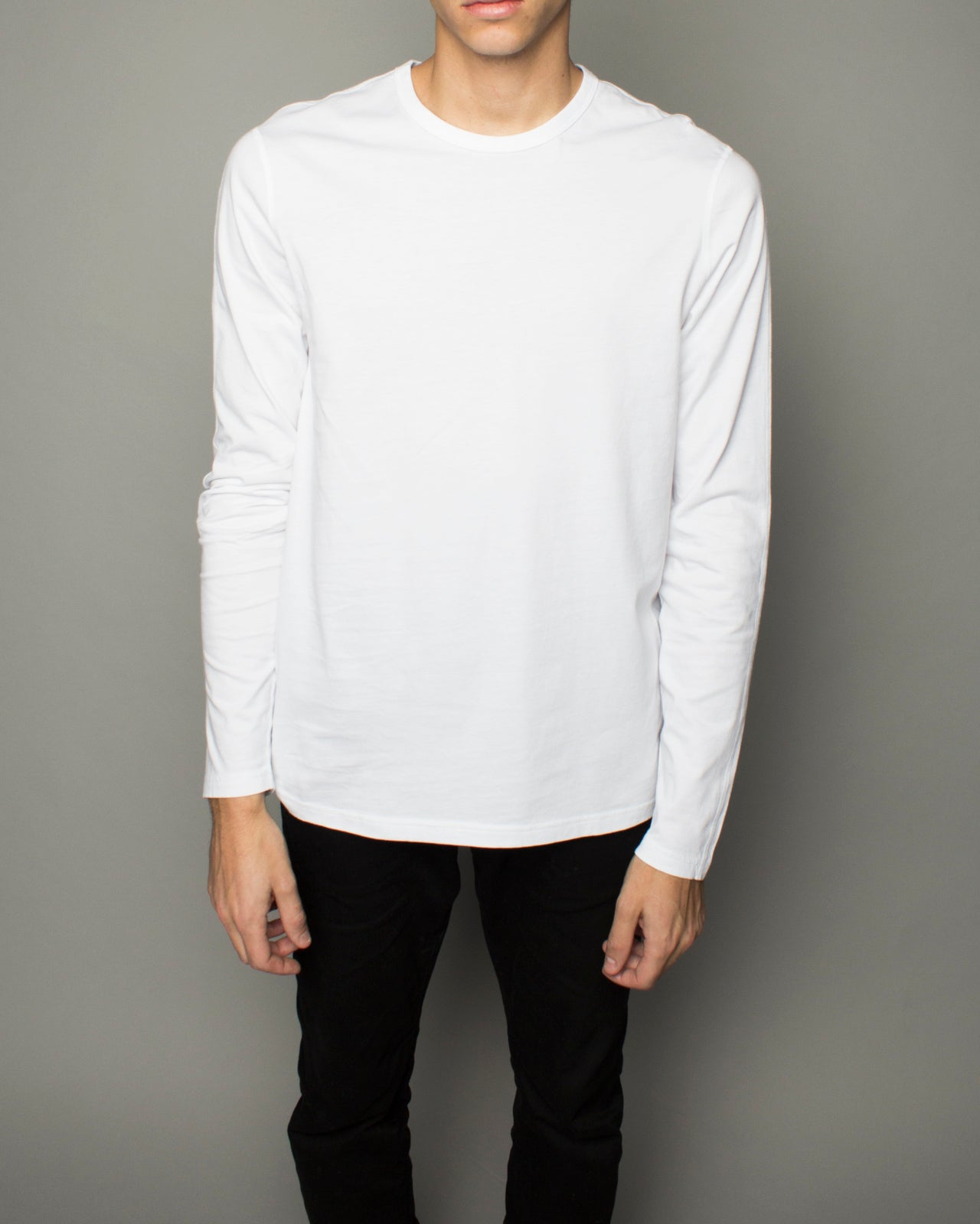 Cotton Jersey LS Crewneck White