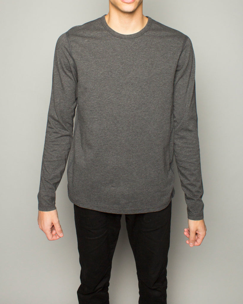 Cotton Jersey LS Crewneck Charcoal