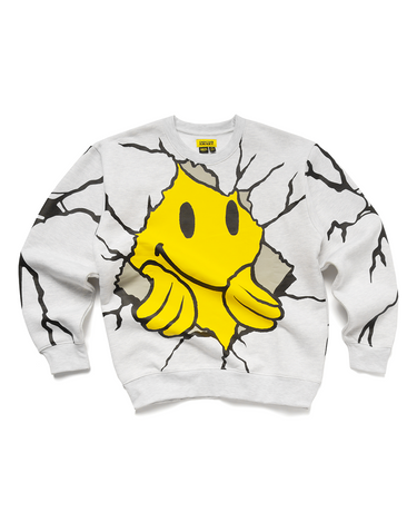 Smiley Dry Wall Breaker Crewneck Ash Grey 1