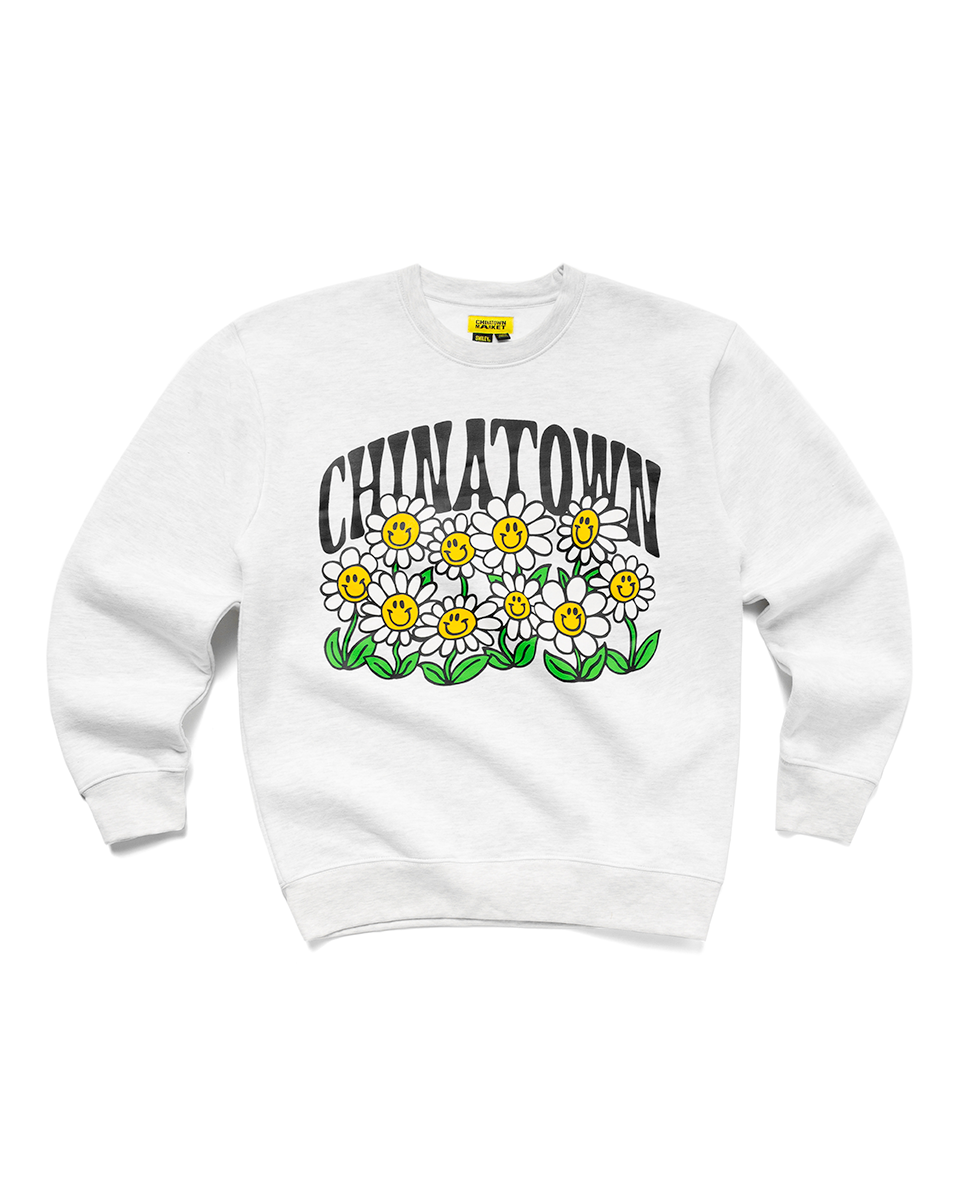Smiley Flower Power Crewneck Ash Grey