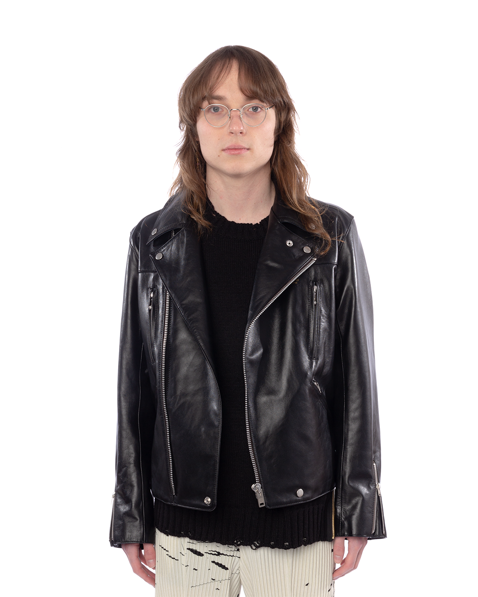 UC1A4213 Leather Jacket Black