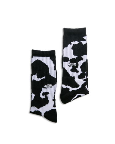 Cow Print Crew Sock Black/White 1