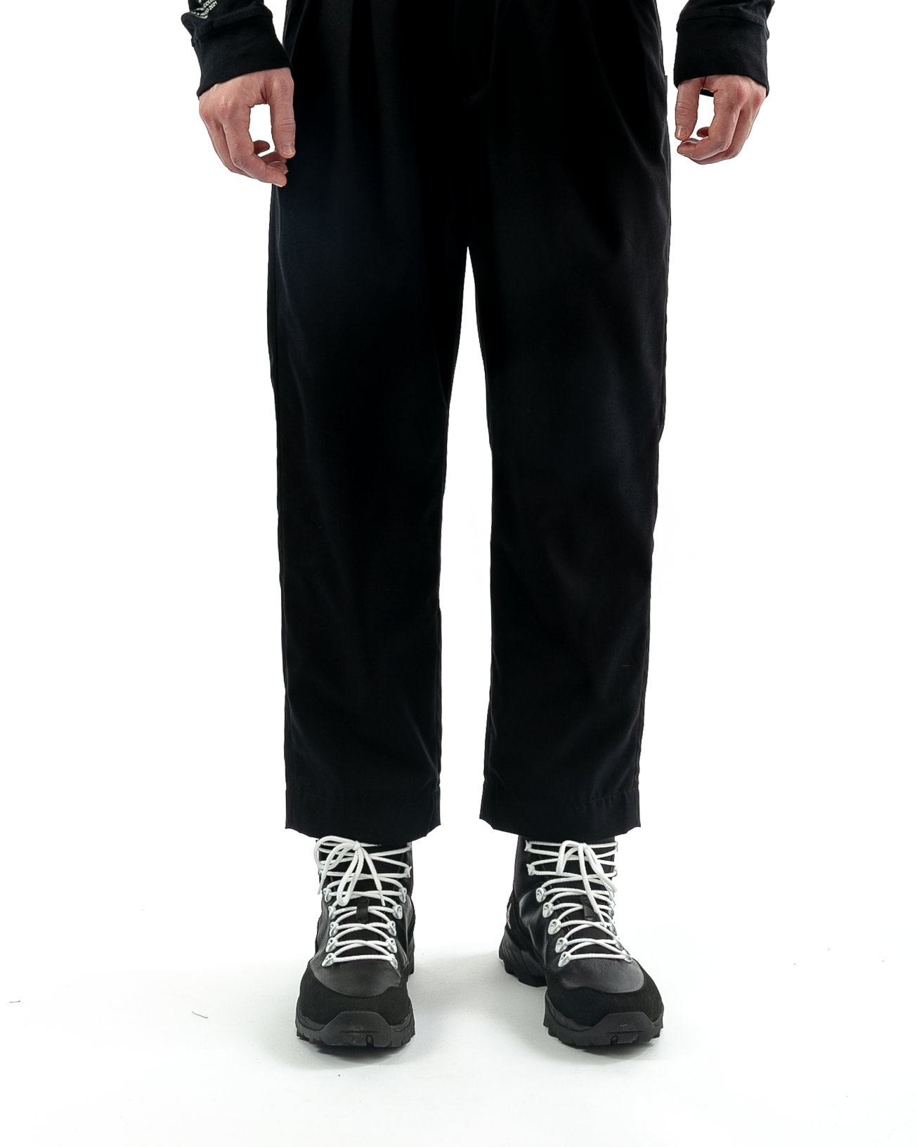 Tuck Twill Trousers Black
