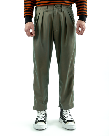 Tuck Twill Trousers Olive Drab 1