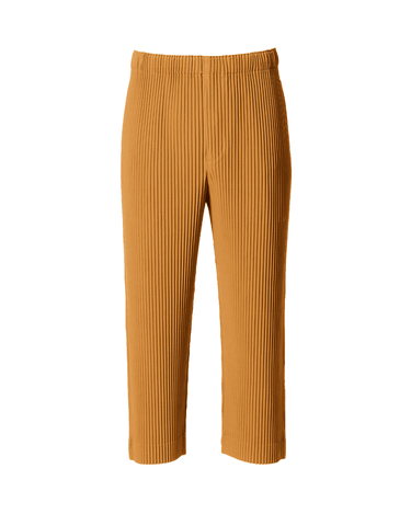 Pleated Cropped Pant Yellow Ochre 1