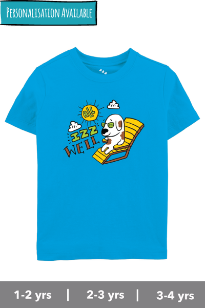 All-is-well-3-idiots-inspired-tshirt-doggy-on-beach-blue-kids-india