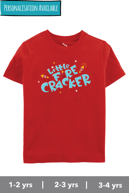Little-fire-cracker-red-tshirt-kids-personalised-india-diwali