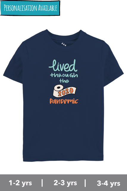 Lived-through-the-pandemic-kids-navy-Tshirt-2020