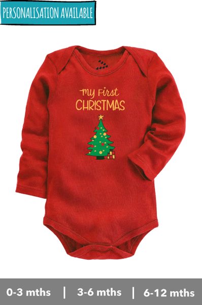 Baby's First Christmas with Tree printed Fullsleeve Red colour Onesie for celebrating christmas