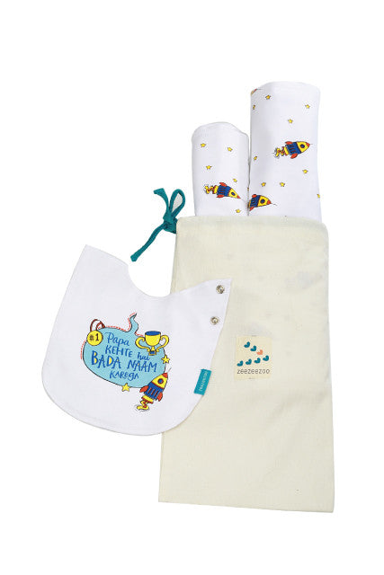 Papa Kehte hai naam karega blanket bib and burp cloth zeezeezoo