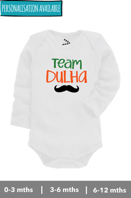 Team dulha white fullsleeve onesie for newborn to 12 months