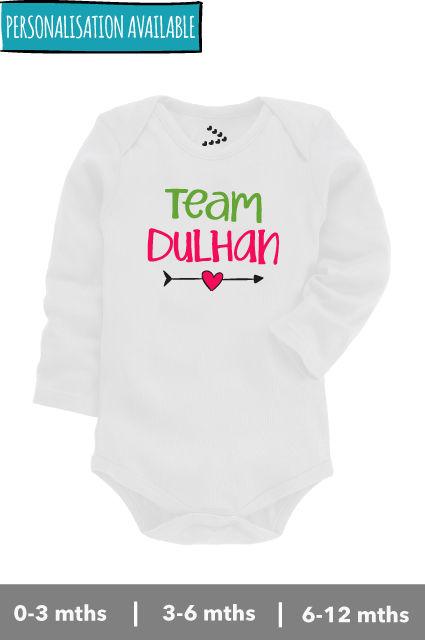Team Dulhan printed personalised onesie for babies india