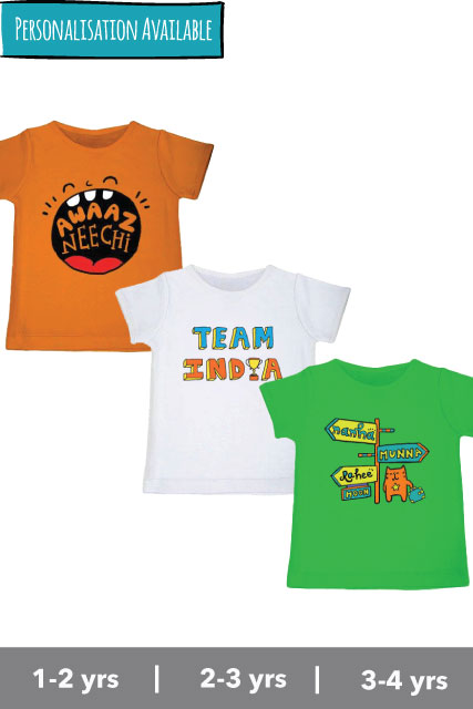 Tri-colour Tee Set - Awaaz Neechi, Team India and Nanha Munna Rahee Hoon