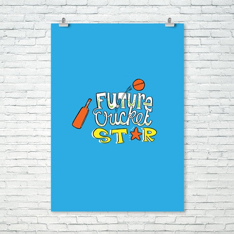 Future Cricket Star Wall Print