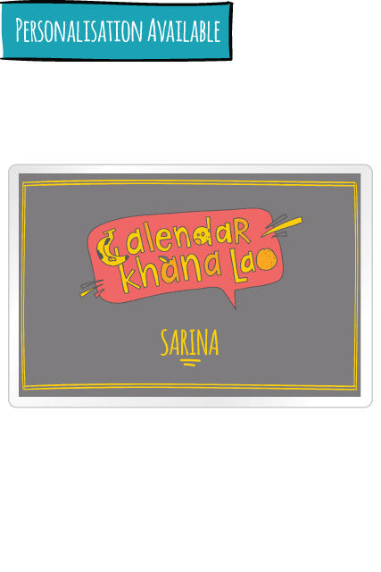 Calendar Khana Lao Personalised Placemats for Bollywood loving parents from zeezeezoo