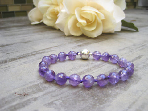 Amethyst Cat Collar, Hand Knotted Cat Jewelry Collar with Magnetic Ball Clasp, Pet Healing Stone, Holiday Pet Gifts