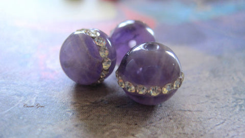 Amethyst Round 10mm Beads with Crystal, 4 pcs, Gemstone Beads, Jewelry Making