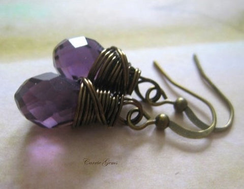 Amethyst Purple Crystal Earrings, Bridesmaid Gifts, Gemstone Jewelry