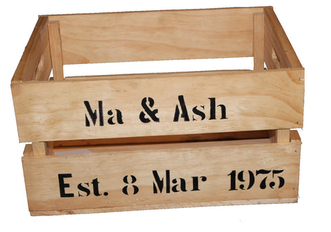 Large personalised anniversary crate