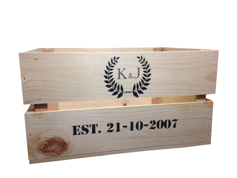 Large personalised wedding crate