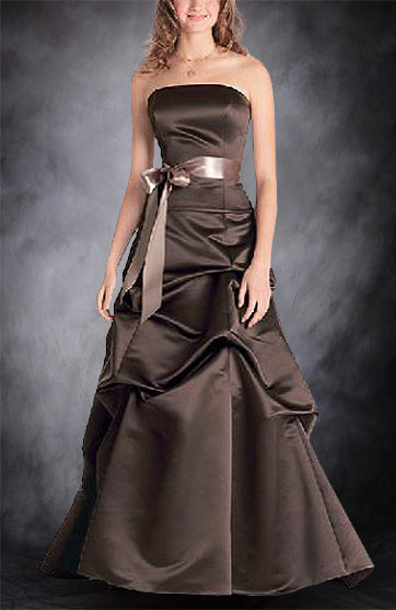 A-line Strapless Floor-length Bridesmaid Dress with Ruffles Style Code: 00543 $109