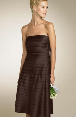 Knee-length Sleeveless Ruffles Satin Bridesmaid Dress