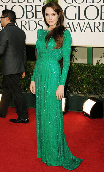angelina in emerald green formal dress