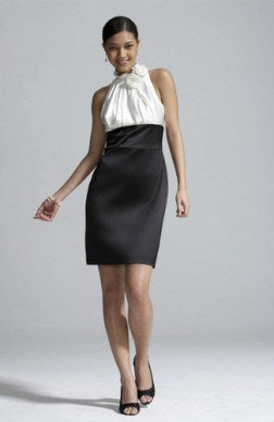 Two Tone Ruffles Short High Neck Sheath Dresses