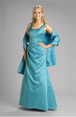 Ruffles A-line Floor-length Satin Bridesmaid Dresses