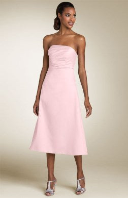 A-line Strapless Ruffles Sleeveless Bridesmaid Dress