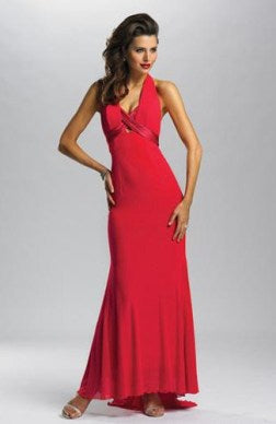 Chiffon Reds Ankle-length Halter Sheath Dresses