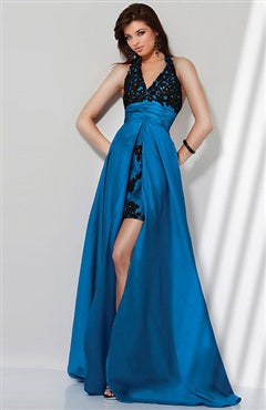 Halter A-line Sweep/ Brush Train Sleeveless Evening Wear, Style Code: 05466, US$124.00