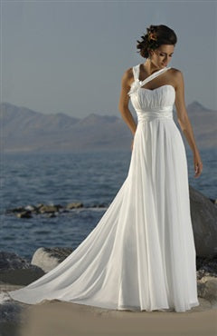 Chiffon Wedding Dress with Asymmetric Straps Style Code: 05926 US$94.00