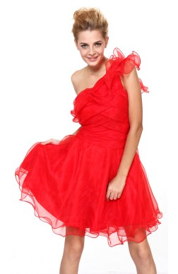 A-line Reds Organza One Shoulder Homecoming Dresses 06023