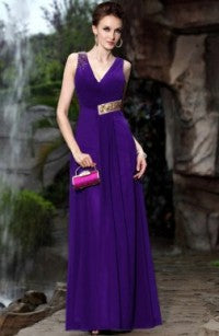 Floor-length A-line V-neck Ruffles Beading Quick Delivery Dresses