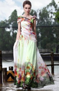Floor-length A-line Off-the-shoulder Chiffon Quick Delivery Dresses