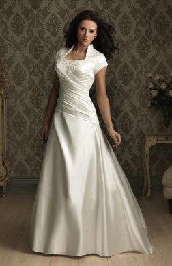 A-line Chapel Train Ivory Satin Wedding Gown