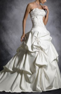 Scalloped Neckline Dropped Waist Wedding Dress with Applique Details Style Code: 08929