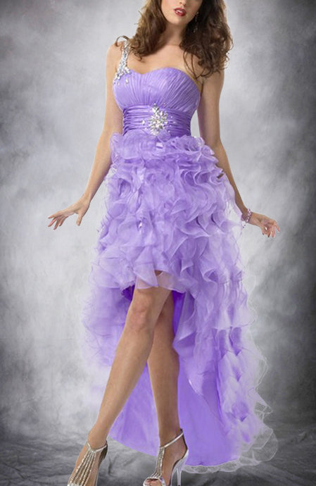 Organza One Shoulder Ruffle Hi Lo Prom Dress. Style Code: 09515. US$179