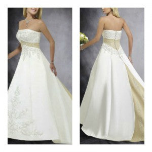 Satin Embroidery Strapless A-line Wedding Gown Style Code: 08982 $254
