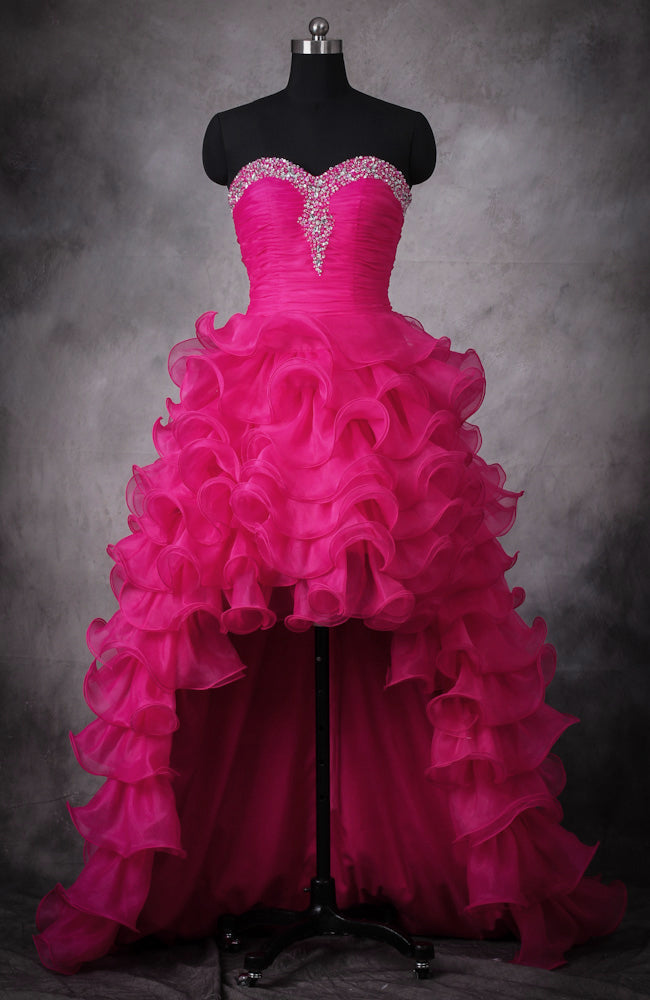 Hot Pink Beading Ruffles Hi-Lo Prom Dress. Style Code: 10947. US$159