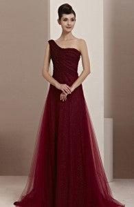 Glitter Tulle Asymmetric Shoulder Trained Evening Dress Style Code: 11458 $209