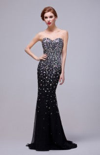 12627 Sparkle Crystals & Beads Embellished Soft Mermaid Evening Gown