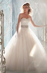Charming Tulle & Satin A-line Sweetheart Raised Waistline Wedding Dress Style Code: 13640 Now $199