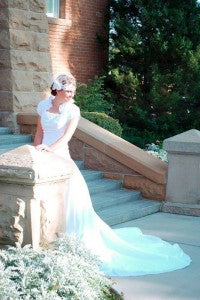 Real OuterInner Customer Reviews | Ivory A-line High Neck Chapel Train Taffeta Wedding Gowns Style Code: 07006 $229